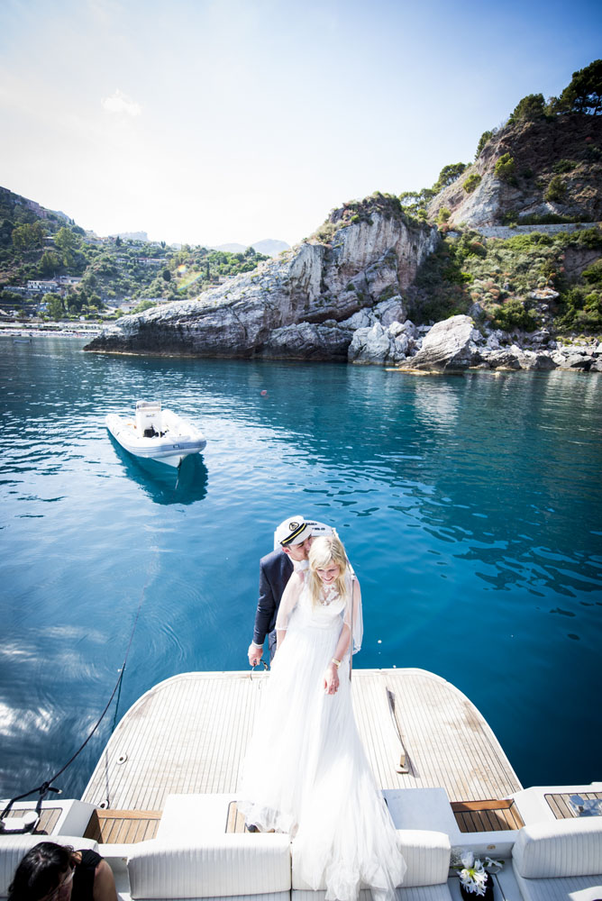 fotografie sposi in barca